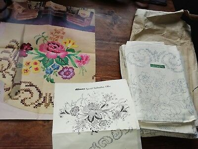 Vintage Woman Mag 1962 Set Of Chair Settee Backs & 4 Cushion Covers To Embroider