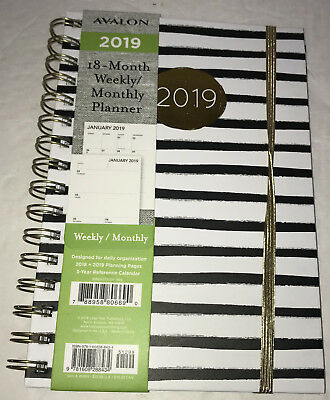 NEW Avalon 2019 Weekly Monthly Planner Calendar Black White Striped 18 Month 6x8