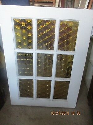 Vintage 9 Divided Light Dutch Cottage Door 32 X 79 YELLOW CIRCLE GLASS CAN SHIP
