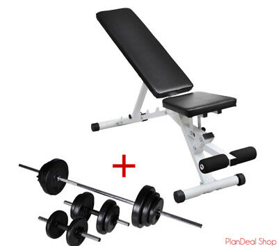 Workout Bench With Dumbbell Barbell Set 30 5 Kg Multi