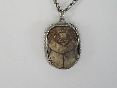 Large VINTAGE EGYPTIAN  CARVED Scarab Beetle Pendant Necklace 26""