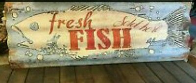 LARGE 44x16 *Fresh Fish Sold Here* Tin Metal Corrugated Sign Picture Home Rustic