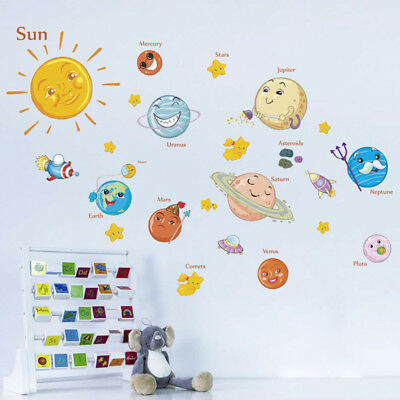 Kids Educational Solar System Planets Space Wall Sticker Baby Room Nursery Decor