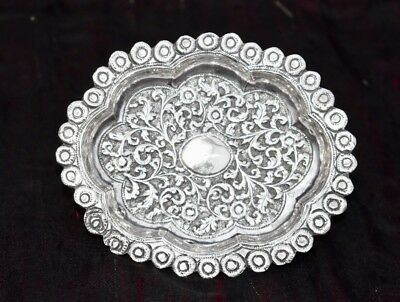Beautiful Antique Kutch Indian Solid Silver Hand Chased Dish , Exquisite c1880