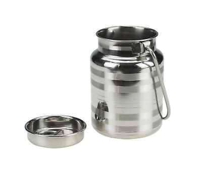 Stainless Steel Milk Churn Can Jug Canister with Carry Handle and Push Lid Milk