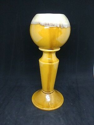 Vintage American Pottery Planter Signed 433 USA Gold Glaze Bowl on Stand Vase