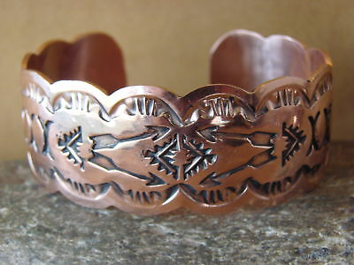 Native American Jewelry Copper Apple Coral Bracelet by Albert Cleveland
