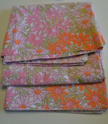Vintage 1970's  Fashion Manor Penn Press Pink Orange Flowers Sheet 3 Pillow Case