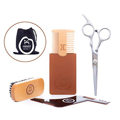 Beard Grooming and Trimming Kit 4 Piece Set Wooden Brush Comb Scissors Template