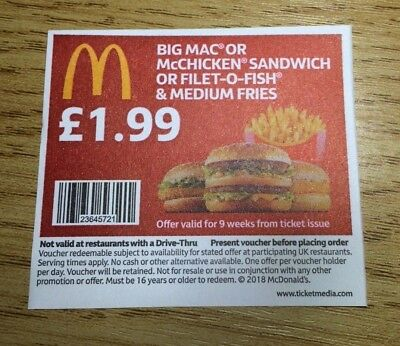 50  x Mcdonalds Food Tickets no expiry date