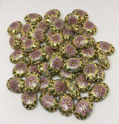 Vintage Lot of 50 Rare Pink Flower Chinese Cloisonne Enamel 22mm Oval Beads NOS
