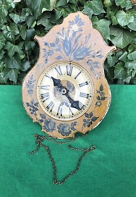 Antique French Wooden Wall Cartel Wag Style Clock For Spares Or Restoration