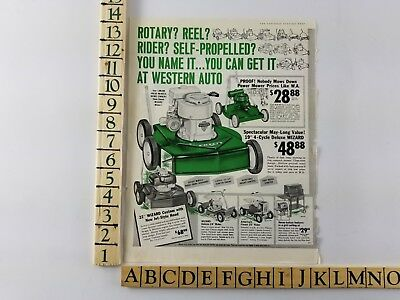 Vintage 1961 Western Auto Wizard Power Lawn Mower Clinton Print Ad