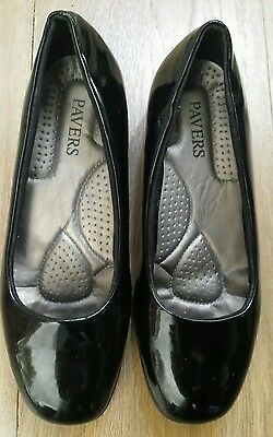 a2bba6b78b81 PAVERS LADIES BLACK Patent Leather Wedge Shoes Size 6 (39) - £25.00 ...