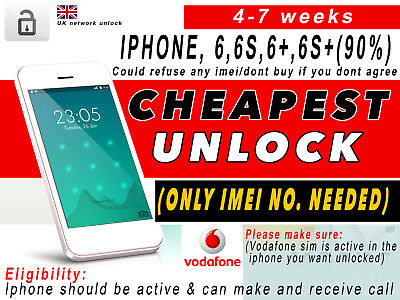 EXPRESS UNLOCKING SERVICE iPhone 6, 6S, 6+, 6S+ for Vodafone UK CHEAP SERVICE