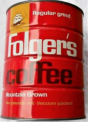 Vintage FOLGERS COFFEE Can, Regular Grind - Empty 2-Lb Tin, No Lid