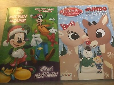 2 Kids Christmas, Holiday Coloring Activity Books: Rudolph & Mickey Mouse