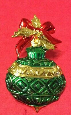 Christmas Ornament With Holiday Bow Brooch Pin Jonette Original