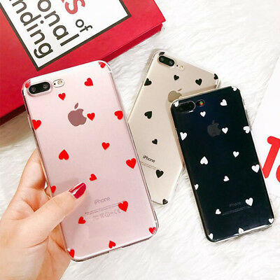 For iPhone X 8 7Plus Clear Soft TPU Silicone Case Cover Ultra Slim Heart Pattern
