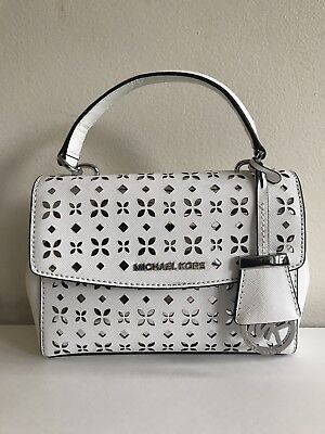 7bdb03684 NWT MICHAEL KORS Ava Mini Extra-small Perforated Leather Crossbody In White