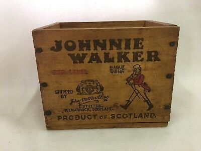 Vintage Johnnie Walker Red Label Whiskey Miniatures Bottle Wood Wooden Box