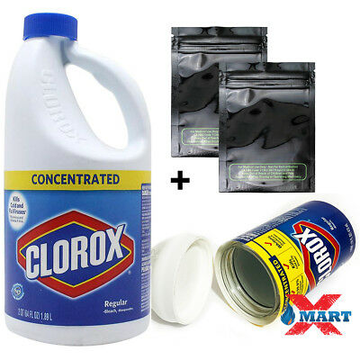 Clorox Bleach 64oz Diversion Safe Stash Can Secuirty + 2 Smell Proof Mylar Bag