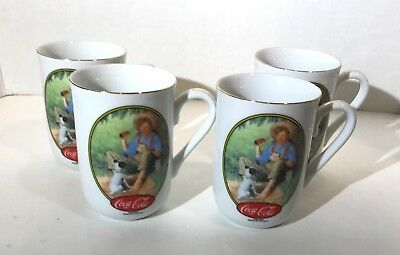 Set of 4 Vintage 1987 Coca-Cola Norman Rockwell & N.C. Wyeth Collector Mugs