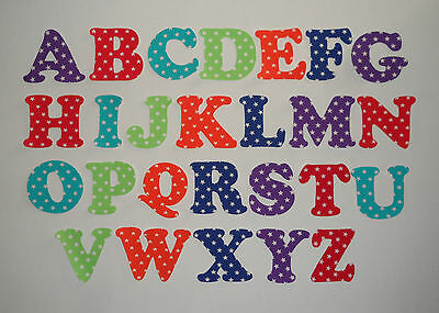 Iron On Die Cut Letters-STARS-Buntings,Quilting,Applique,Crafts,Signs Per Letter