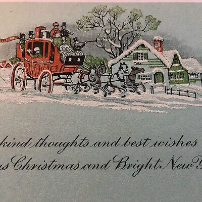 Vintage Art Deco Christmas Greeting Card~Victorian Style People in Coach~Snow