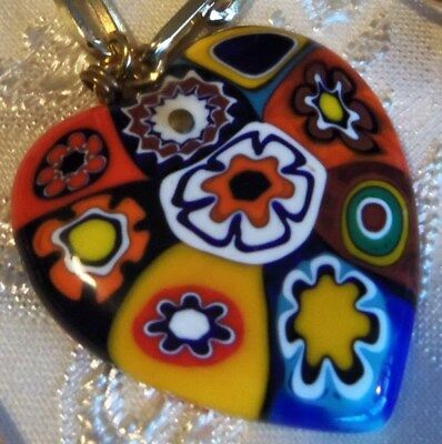 Art Deco VENETIAN Murano Millefiori Art Glass Bead  Heart Necklace beautiful