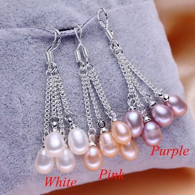 Wholesale 7-8mm Genuine Natural Freshwater Pearl Real 925 Silver Dangle Earrings