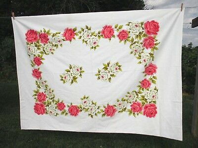 "Pink/White Roses Flower Green Leaves Tablecloth 100% Cotton Vintage 60"" x 80"""
