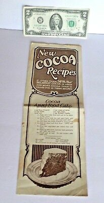McNess VANILLA & COCOA Recipes - Double sided folded sheet -Recipes and pictures
