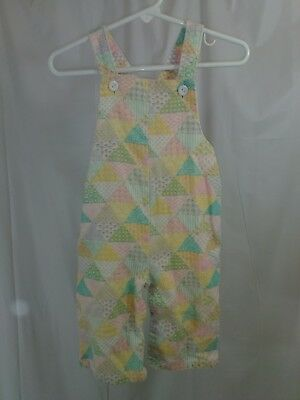Vintage Baby Girls Be Mine Corduroy Bib Overalls Size 12 Months Pastle Colors