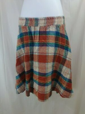 Vintage Youth Girls Traci Lynn Orange & Blue Plaid Elastic Waist Skirt Sz 12