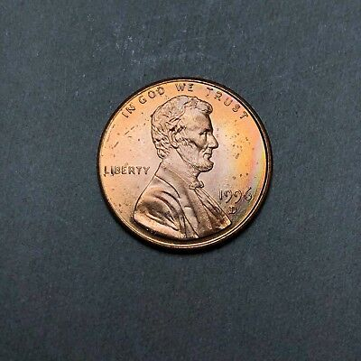 1996-D Lincoln Memorial Cent 1C - Gem Uncirculated - Colorful Toning