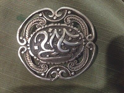 ☆ Antique Arabesque Islamic Brooch Sterling Silver Berber Morocco