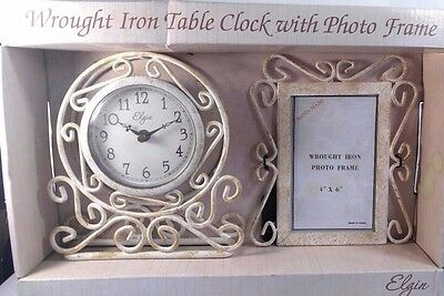 ELGIN VINTAGE DECORATIVE set of Table Clock and Picture Frame WROUGHT IRON White