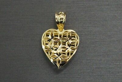Real 10K Solid Yellow Gold Beautiful Diamond Cut Dome Heart Charm Pendant.