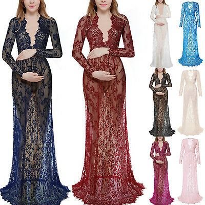 Pregnant Womens Lace Maternity Dress Maxi Ball Gown Photography Pregnant Dresses