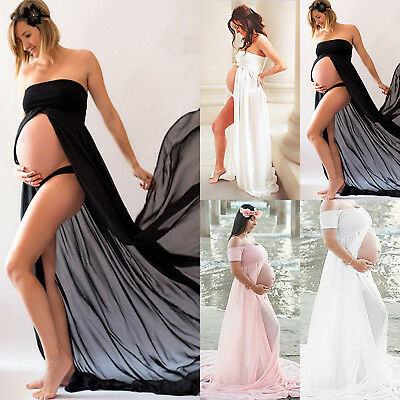 Pregnant Women Split Long Maxi Dresses Maternity Ball Gown Photography Clothes