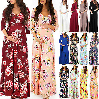 Pregnant Womens Maternity Maxi Ball Gown Prom Wrap Dresses Photography Clothes