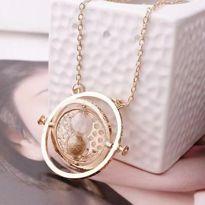 NEW Harry Potter Gold Time Turner Hermione Granger Rotating Hourglass Necklace!!