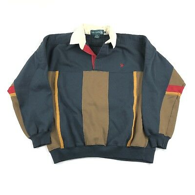 Vintage 90s Color Block Rugby Polo Shirt Mens Large Vertical Stripe Retro Knight