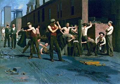 The Iron Workers Noontime by Thomas Pollack Anshutz A1 High Quality Canvas Print