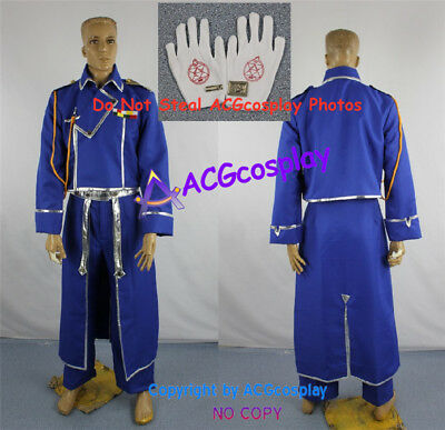 Fullmetal Alchemist Roy Mustang Cosplay Costume include collar pin and gloves
