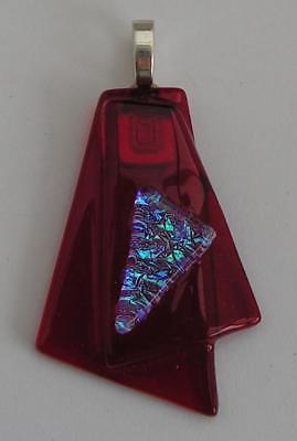 """HANDMADE DICHROIC + ART GLASS FREEFORM PENDANT : """" CHERRY RED with SHIMMERY """""""