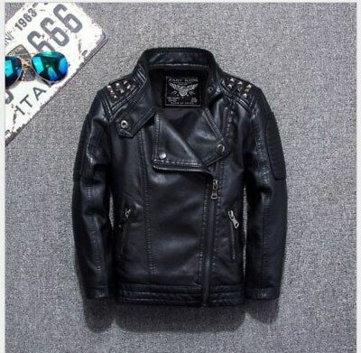 New leather jacket casual black solid children's jacket spring leather jacket