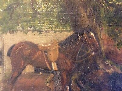 Small 19th Century Naiveve Old Painting On Board Of A Horse In Yard Horse Oil