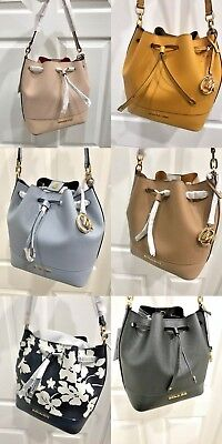 bbf25bcdb5e0 Michael Kors Trista Medium Drawstring Bucket Bag in Various Colors Leather   348